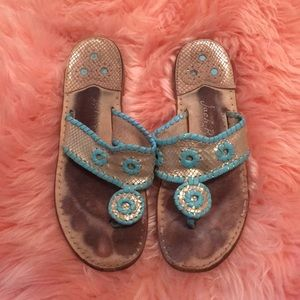 Gold & Turquoise Jack Rogers Sandals